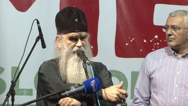 Митрополит Амфилохије на протесту опозиције у Подгорици - Sputnik Србија