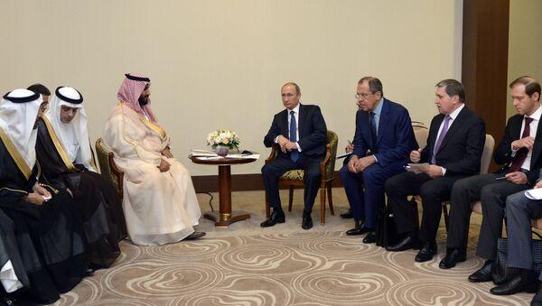 Владимир Путин и Сергеј Лавров са Абдулом ал Џубеиром - Sputnik Србија