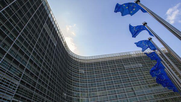 Zastave ispred sedišta EU u Briselu - Sputnik Srbija