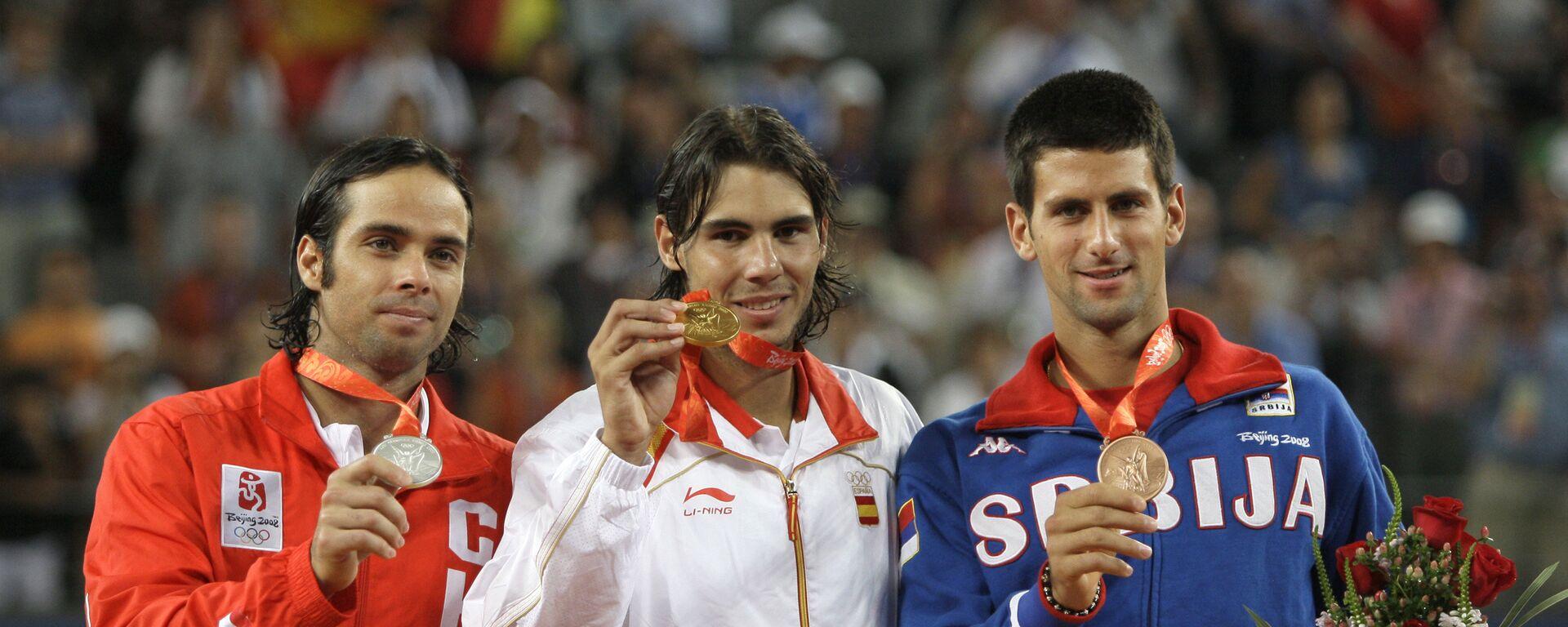 Fernando Gonzales, Rafael Nadal i Novak Đoković, osvajači olimpijskih medalja u Pekingu 2008. - Sputnik Srbija, 1920, 15.07.2021