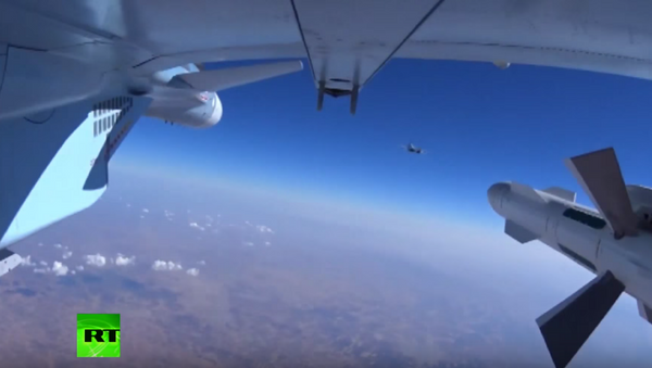 The Russian Defense Ministry released footage on Wednesday of bombs being dropped on targets in Syria. - Sputnik Srbija