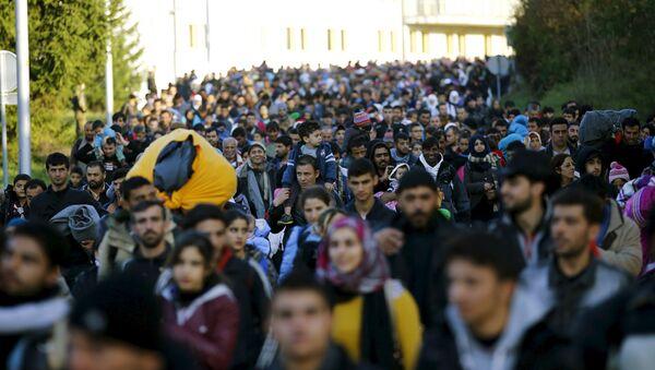Мигранти ходају према аустријској граници, након одмора у импровизованом логору у селу Стари Град, Словенија, 24. октобра, 2015. - Sputnik Србија