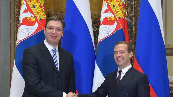 Premijer Srbije Aleksandar Vučić i premijer Rusije Dmitrij Medvedev u Moskvi - Sputnik Srbija