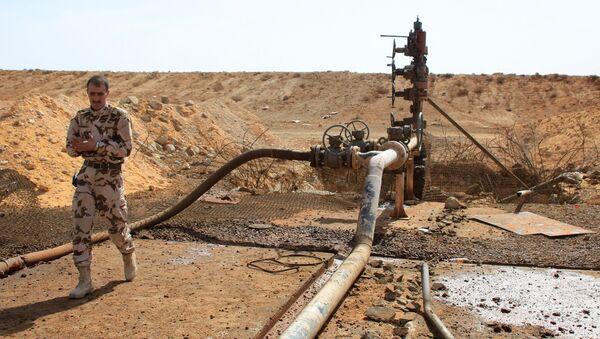 Borac sirijskih Oružanih snaga na naftoj bušotini u blizini Palmire, na istoku pokrajine Homs - Sputnik Srbija
