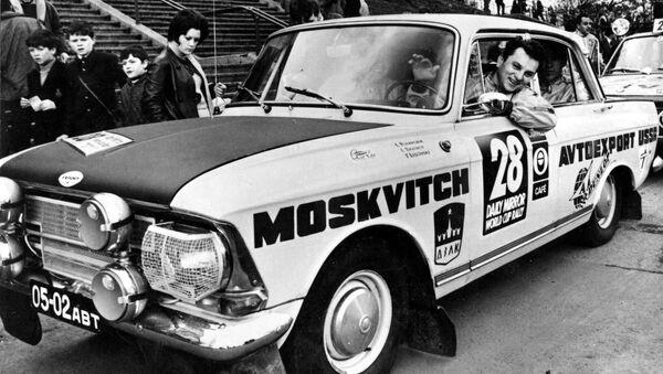 Автомобиль Москвич под номером 28, занявший 12 место в авторалли Лондон - Мехико в 1970 году - Sputnik Србија