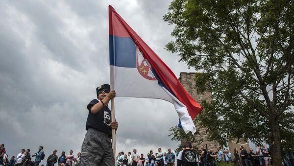 Dečak sa srpksom zastavom na Gazimestanu 28. juna 2015. godine, Kosovo - Sputnik Srbija