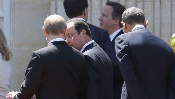 Predsednik Rusije Vladimir Putin, predsednik SAD Barak Obama i predsednik francuske Fransoa Oland - Sputnik Srbija
