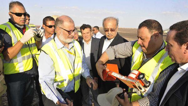 Egipatski premijer Ismail Šerif pored ostataka ruskog aviona nakon što se srušio u centralnom Sinaju - Sputnik Srbija