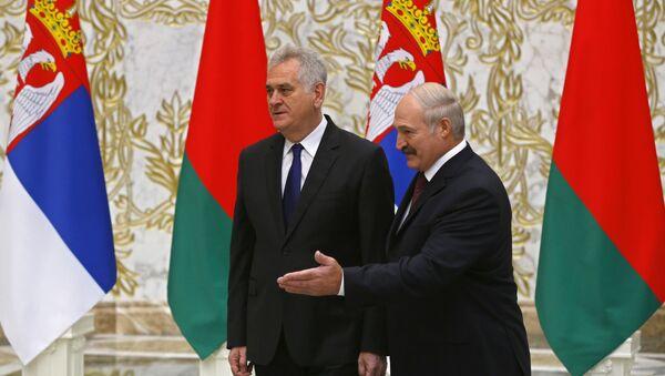 Predsednik Belorusije Aleksandar Lukašenko i predsednik Srbije Tomislav Nikolić u Minsku - Sputnik Srbija
