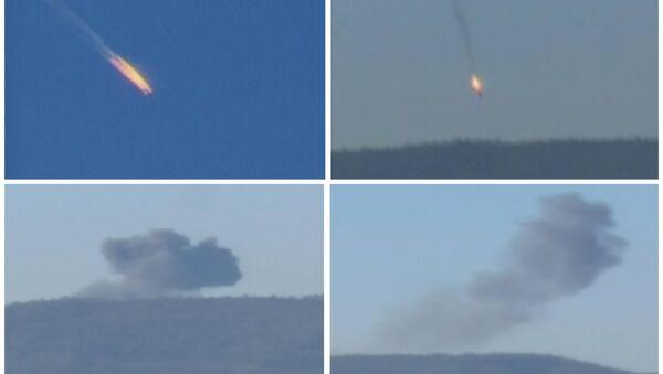 Комбо - фотографије приказују пад руског авиона Су-24 након што га је погодио турски авион Ф-16 на сиријској територији, у близини границе са Турском, 24. новембра 2015. - Sputnik Србија