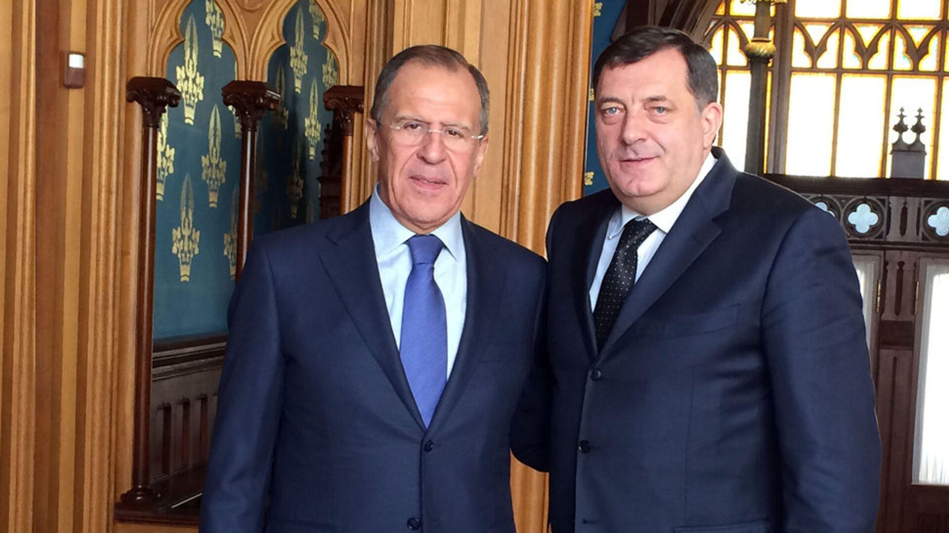 Шеф дипломатије Русије Сергеј Лавров и председник РС Милорад Додик - Sputnik Србија, 1920, 07.10.2021