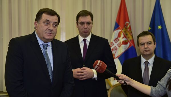 Milorad Dodik, Aleksandar Vučić i Ivica Dačić - Sputnik Srbija
