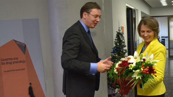 Premijer Srbije Aleksandar Vučić i glavna urednica Ljubinka Milinčić - Sputnik Srbija