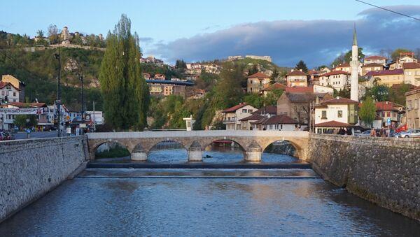 Сарајево, мост преко Миљацке панорама - Sputnik Србија