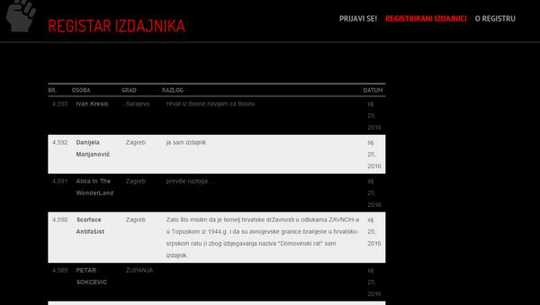 Registar izdajnika, Hrvatska - Sputnik Srbija