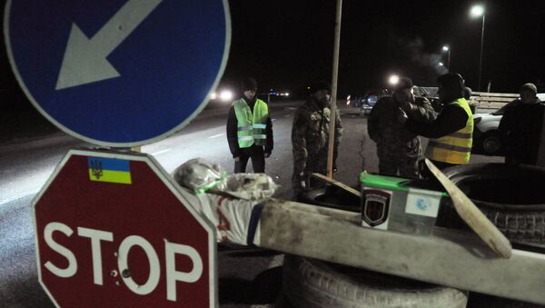 Ukrajinski aktivisti blokiraju ruske kamione u Lavovskoj oblasti - Sputnik Srbija