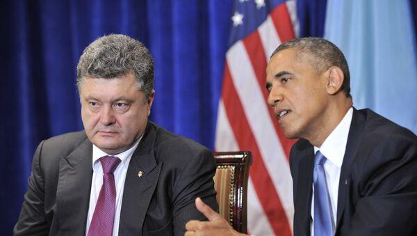 Ukrajinski predsednik Petro Porošenko i američki predsednik Barak Obama - Sputnik Srbija