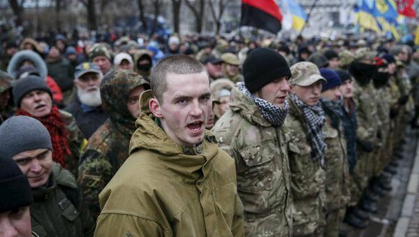Ukrajinski nacionalisti na komemorativnom skupu na trgu Majdan u Kijevu - Sputnik Srbija