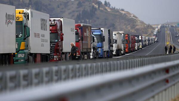 Колона камиона се виде на аутопуту у близини граничног прелаза Кулата између Бугарске и Грчке - Sputnik Србија