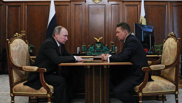 Председник Русије Владимир Путин и директор Гаспрома Алексеј Милер - Sputnik Србија