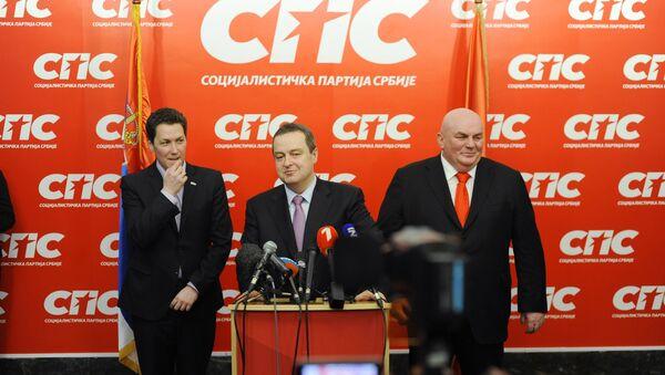 Predsednici Zelenih Srbije Ivan Karić, SPS-a Ivica Dačić i JS-a Dragan Marković Palma na konferenciji za novinare - Sputnik Srbija