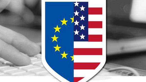 Грб са заставама ЕУ и САД - илустрација - Sputnik Србија
