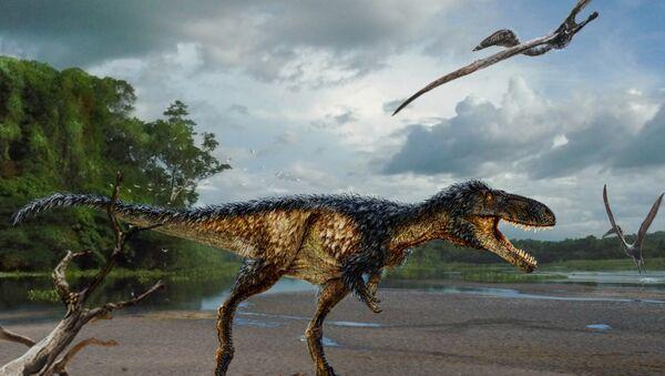 rekonstrukcija novog tirannosaurusa Timurlengia euotica u svom prirodnom okruženju pre 90 miliona godina. - Sputnik Srbija