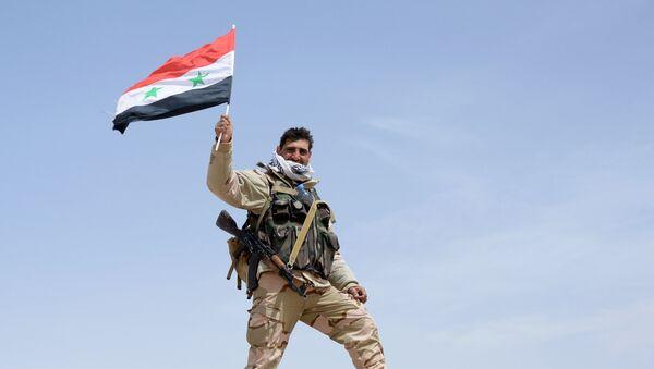 Vojnik sa zastavom Sirije - Sputnik Srbija