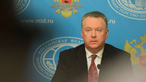 Zvanični predstavnik Ministarstva inostranih poslova Ruske Federacije Aleksandar Lukaševič na brifingu u Moskvi - Sputnik Srbija