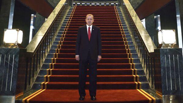 Турски председник Реџеп Тајип Ердоган позира у Ак Сарају (Белој палати) новој предесдничкој резиденцији у Анкари. - Sputnik Србија