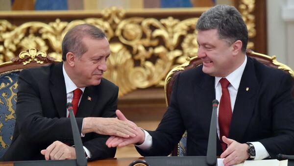 Predsednik Turske Redžep Tajip Erdogan i predsednik Ukrajine Petro Porošenko - Sputnik Srbija