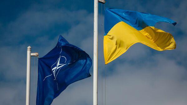 Zastave Ukrajine i NATO-a - Sputnik Srbija
