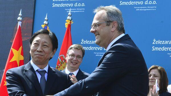 Министар привреде Жељко Сертић и председник кинеске компаније Хестил Ју Јонг - Sputnik Србија