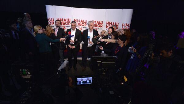 Lideri LDP i SDS Čedomir Jovanović i Boris Tadić daju izjave novinarima - Sputnik Srbija