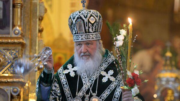 Patrijarh moskovski i cele Rusije Kiril tokom službe uoči Cvetne nedelje u Hramu Hrista Spasitelja u Moskvi - Sputnik Srbija