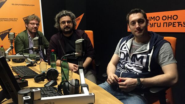 Reditelj Danilo Bećković, glavni glumac Petar Strugar i producent Marko Paljić - Sputnik Srbija