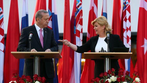 Председник Турске Реџеп Тајип Ердоган и председница Хрватске Колинда Грабар Китаровић - Sputnik Србија