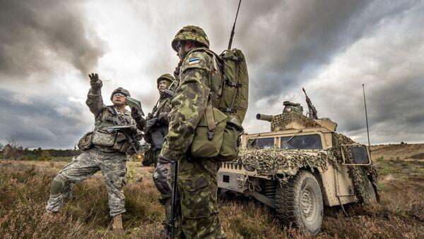 Амерички и eстонски војник током војне вежбе - Sputnik Србија