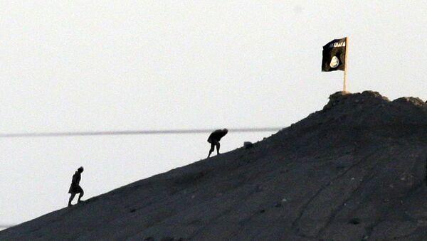 Застава ДАЕШ-а на брду у близини сиријско-турске границе - Sputnik Србија