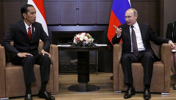 Председник Русије Владимир Путин разговара са председником Индонезије Џоком Видодом у Сочију - Sputnik Србија