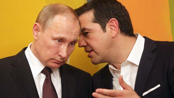 Председник Русије Владимир Путин и премијер Грчке Алексис Ципрас током састанка у Атини. - Sputnik Србија