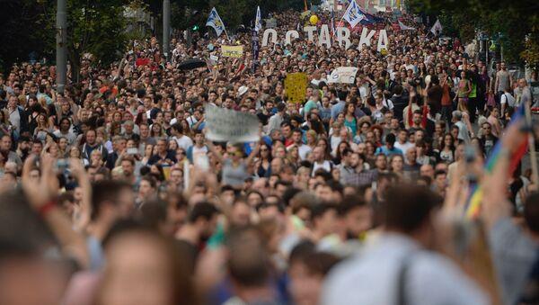 Treći protest u Beogradu protiv rušenja u Savamali u noći između 24. i 25. aprila - Sputnik Srbija