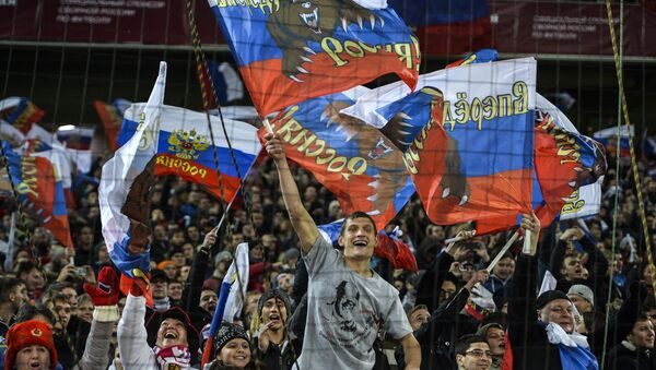 Navijači Rusije na meču Rusija Crna Gora - Sputnik Srbija