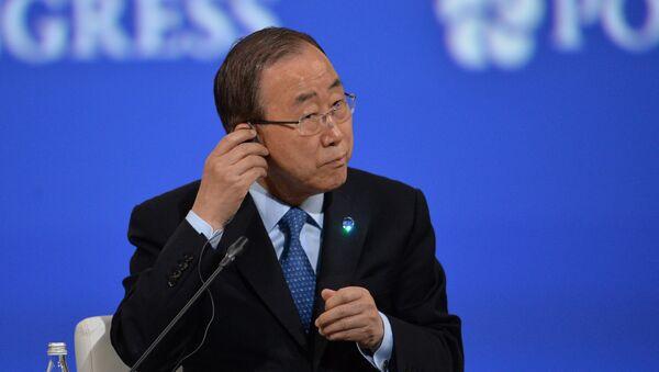 Generalni sekretar UN Ban Ki Mun na svečanom otvaranju Peterburškog međunarodnog ekonomskog foruma - Sputnik Srbija