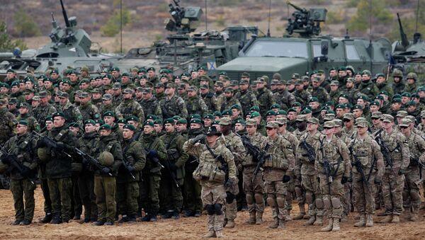 Pripadnici američke vojske, Drugi bataljon, Osmi konjički puk, Prva brigada, Prva konjička divizija i pripadnici Vojske Litvanije tokom vojne vežbe Gvozdeni mač 2014 u Pabradi u Litvaniji. - Sputnik Srbija
