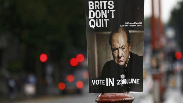 Винстон Черчил на плакату који позива Британце да гласају за останак у ЕУ. - Sputnik Србија
