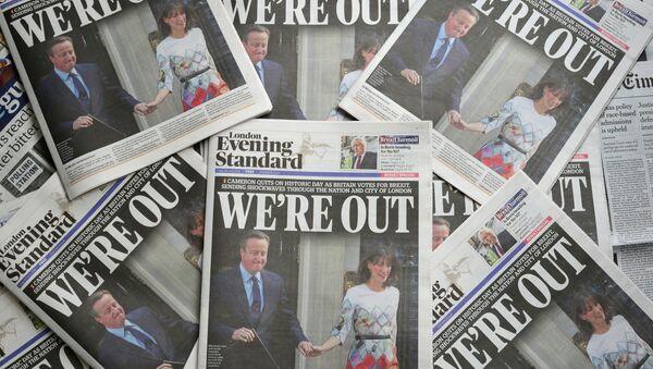 Naslovne stranice novina u Londonu dan nakon referenduma o izlasku Velike Britanije iz EU - Sputnik Srbija