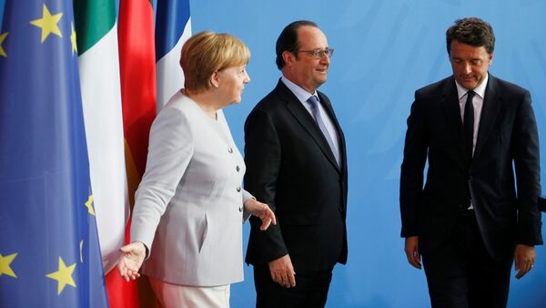 Angela Merkel, Franso Oland i Mateo Renci - Sputnik Srbija