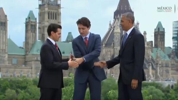 Predsednik SAD Barak Obama, premijer Kanade Džastin Trudo, predsednik Meksika Enrike Penja Neto - Sputnik Srbija