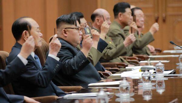 Lider Severne Koreje Kim Džong Un na narodnom savetu u Pjongjangu - Sputnik Srbija